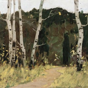 "Xing Guozhen, ""Roadside Birches"", oil painting, 41.6 x 37.5 cm, 1973"