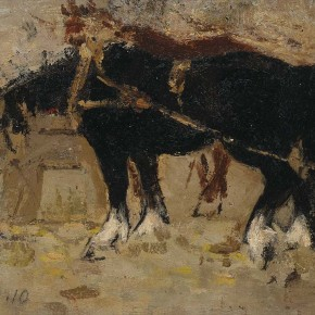 "Xing Guozhen, ""Two Horses"", oil painting, 24 x 20 cm, 1960"