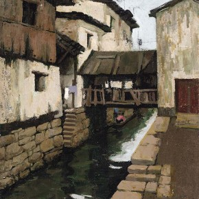 "Xing Guozhen, ""Water Town"", oil painting, 58 x 62.5 cm, 1982"