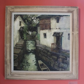 "Xing Guozhen, ""Water Town No.9"", oil on canvas, 61.5 x 61.5 cm, 1982"
