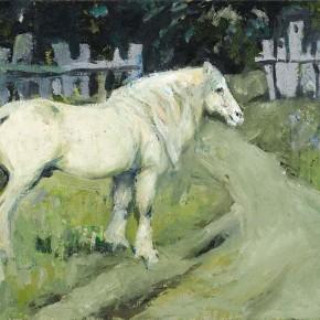 """Xing Guozhen, """"White Horse"""", oil painting, 67 x 44.5 cm, 2012"""