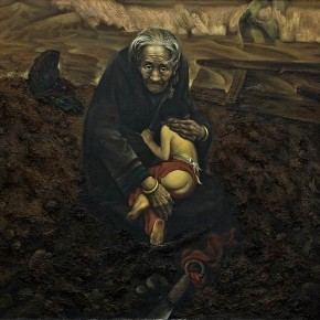"Yu Zhenli ""National Calamity""142 x 140 cm oil painting1984 290x290 - Self-deportation: Yu Zhenli Solo Exhibition Held at Today Art Museum"