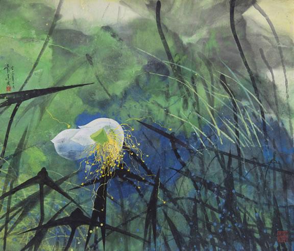 "Yuan Yunfu, ""Amorous Feelings a Wild Pool"", colored ink on paper, 2012"