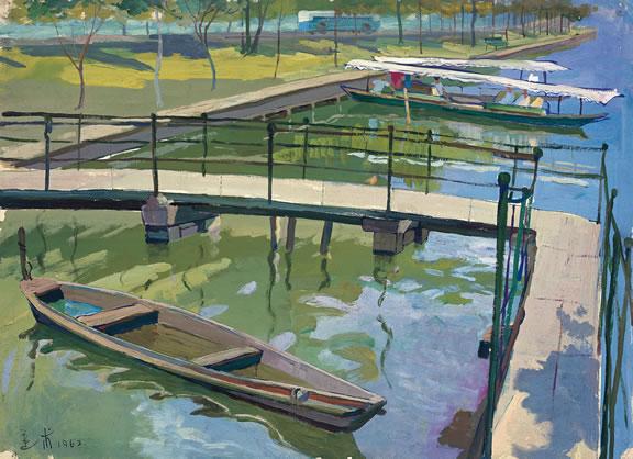 "Yuan Yunfu, ""Autumn Moon in the Smooth Lake"", gouache on paper, 1962"