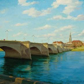 """Zhai Xinjian """"Augusto Bridge in Dresden"""" 50 x 40 cm 2008 290x290 - Elegant Ancient Bridges – Guan Guangzhi, Guan Naiping, Zhai Xinjian and Zhai Bo's Exhibition at CAFA"""