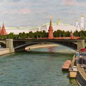 """Zhai Xinjian """"Big Stone Bridge in Moscow"""" 76 x 56 cm 2013 290x290 - Elegant Ancient Bridges – Guan Guangzhi, Guan Naiping, Zhai Xinjian and Zhai Bo's Exhibition at CAFA"""