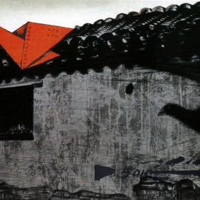 "Zhang-Guilin,-""A-Paper-Crane's-Flying-in-the-Hutong"",-serigraphy,-47-x-70"