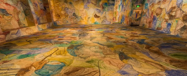 """""""Space Painting"""", watercolor on wall, installation view, Institute of Contemporary Arts, London, 2013. © Zhang Enli, courtesy the artist, Hauser & Wirth and ShanghART Gallery. Photo Mark Blower."""