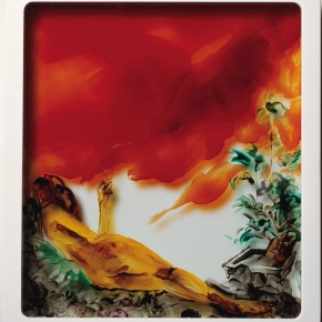 "17 Yu Hong ""Red Fog"" paint on glass 30 x 34 cm x 8 mm x 6 2013  290x290 - ""Wondering Clouds"" – Solo Exhibition by Yu Hong Unveiled at Long March Space"