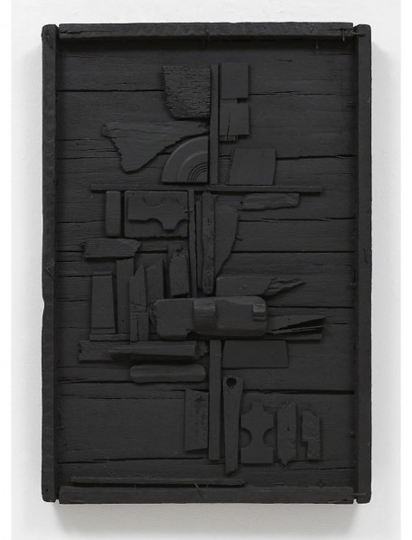 BACK TO TO BE A LADY EXHIBITIONLouise Nevelson, Night Flower One, 1958, wood painted black, 36.25 x 24.75 x 3.75 inches Courtesy Pace, New York © 2013 Estate of Louise Nevelson, Artists Rights Society (ARS)