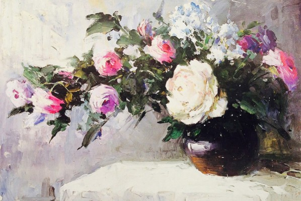 "Han Ke, ""Rose"", oil on canvas, 38 x 58 cm, 1992"