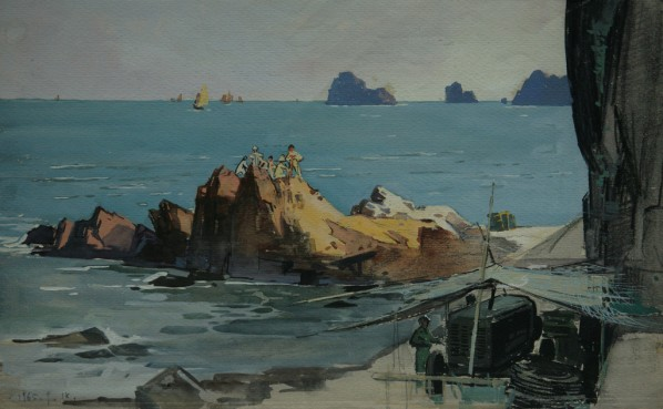 "Han Ke, ""Sketch in Vietnam No.5"", 34 x 23 cm, drawing and water color, 1965"