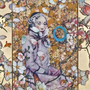"""Hung Liu Untitled 100 Flowers or Mountain Lady 2012 mixed media triptych 28 x 39.5 inches Courtesy of Nancy Hoffman Gallery New York 290x290 - Sundaram Tagore Singapore presents """"To Be a Lady"""" featuring an international selection of women artists"""