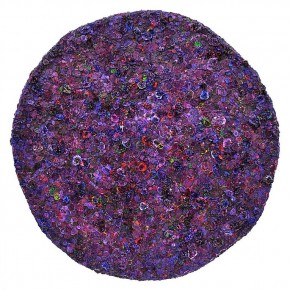 """Jane Lee Juju 2013 dry acrylic paint acrylic heavy gel on fiberglass base canvas 43 inches in diameter 290x290 - Sundaram Tagore Singapore presents """"To Be a Lady"""" featuring an international selection of women artists"""