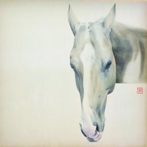 Li Guanguan A Half 2012 Ink on silk 45×45cm 290x290 - Guanguan's Horse – Solo Exhibition by Li Guanguan at Triumph Art Space