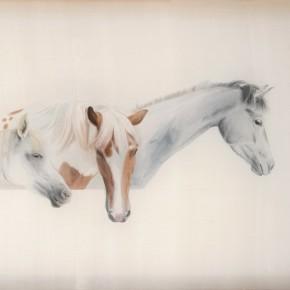 Li Guanguan Starting No.2 2013 Ink on silk 120×160cm 290x290 - Guanguan's Horse – Solo Exhibition by Li Guanguan at Triumph Art Space