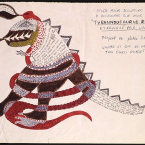 "Niki de Saint Phalle Study for sculpture Tyrannosaurus Rex c.1963 marker ink pencil on paper 14.2 x 19.3 inches Virginia Dwan Collection New York 290x290 - Sundaram Tagore Singapore presents ""To Be a Lady"" featuring an international selection of women artists"