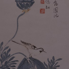 "Pu Xinyu ""Autumn Lotus and Wagtail Figure"" 290x290 - Collecting Osmund under the Pine Window – Pu Xinyu's Paintings Presented at Art Museum of Beijing Fine Art Academy"