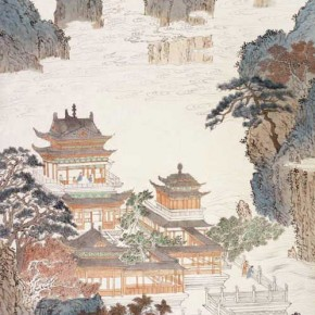 "Pu Xinyu ""Terraces and Pavilions in the High Mountains Figure""  290x290 - Collecting Osmund under the Pine Window – Pu Xinyu's Paintings Presented at Art Museum of Beijing Fine Art Academy"