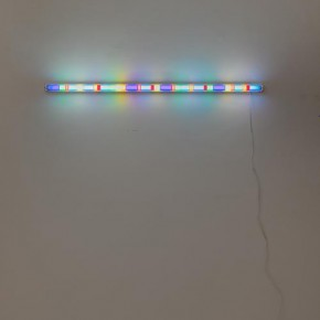 """SPENCER FINCH Study for Sirius 2013 Fluorescent fixture and filter 121.9x3.8x7cm 290x290 - James Cohan Gallery Shanghai presents """"Day and Night"""" featuring works by New York-based artists Spencer Finch and Byron Kim"""