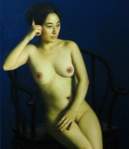 "Weng Wei ""Contemplation in the Quiet Night""  251x290 - The 9th Anniversary Ehxibition of the China Realism Oil Painting to be Unveiled at National Art Museum of China"