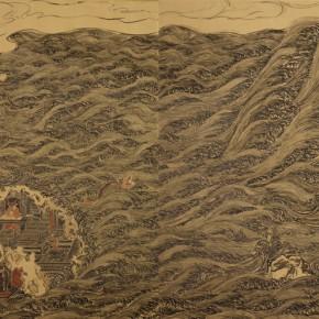"""Buddha Statue""Lin Haizhong, Picture of Qiantang Scenic Spot, 2011; Mural painting,  200x200cm x2"
