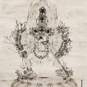 """Buddha Statue""Lu Yang, Nine Head Bhairava and Angry Brain Center, Black and While Line Frame, 2011; ink on scroll of rice paper, 119x112.3cm"