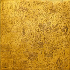 """Buddha Statue""Zeng Yang The World of Amitāyus Series 01 2013 24 gold foil 13x13cm 290x290 - The 8th International Ink Art Biennale of Shenzhen"