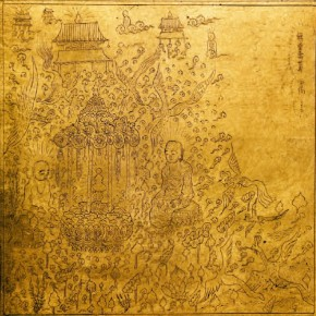 """Buddha Statue""Zeng Yang The World of Amitāyus Series 02 2013 24 gold foil 13x13cm 290x290 - The 8th International Ink Art Biennale of Shenzhen"
