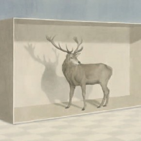 """Flower-and-Rock Project""Qin Ai, Deer in the Box, Ink on paper"