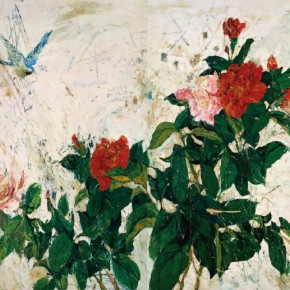 """Flower-and-Rock Project""Shen Liang, A Thousand Miles Away, 2009; OPil on canvas, 250x400cm"