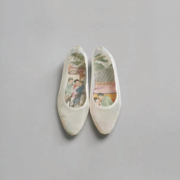 """Goddess Biographies""Peng Wei, Good things should be in pairs, 2011-2013; silk shoes installation,  24x15x5cm"