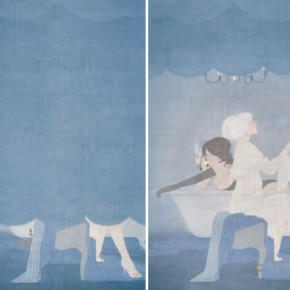 """Goddess Biographies""Zhang Jian, Plots of Images, 2008; ink and color on silk, 200x100cm x2"