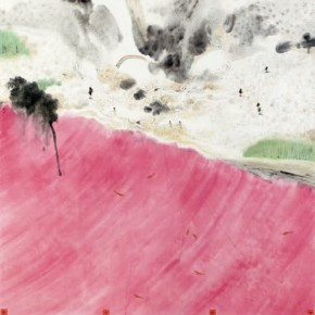 """Pavilion of Clouds and Water""Lin Yusi, Red Sea, 2012; ink and color on paper, 200x200cm"