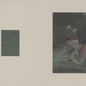 """The Classic of Mountains and Seas""Hao Liang, Pear Blossom-the Spring Equinox, 2013; Heavy Color on Silk, right 17x22 cm left 6.5x9.5 cm"