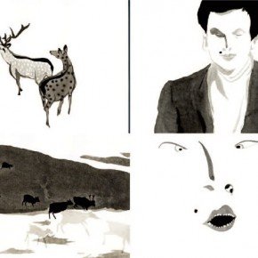 """The Classic of Mountains and Seas""Liu Yi, Theory of Natural Selection 01, 2013; Animation of Ink and Wash, 5m30s"
