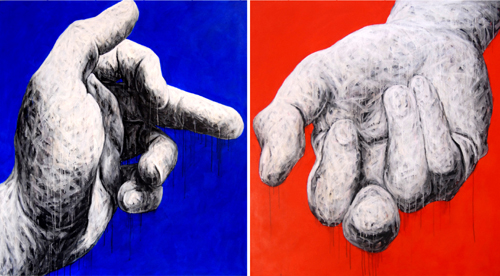 Ge Feng, Hand Series No. 21, 2008; mixed media, 135x150cmx2