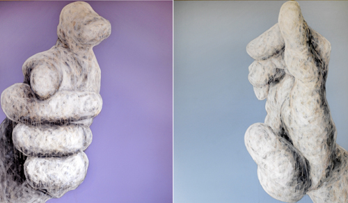 Ge Feng, Hand Series No. 24, 2008; mixed media, 135x150cmx2