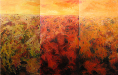 Ge Feng, Space Unknown Series, 2005; Oil on canvas, 100x200cmx3