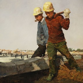 He-Yongxing,-Road-Paver,-2011;-Oil-on-Canvas,-200×200cm