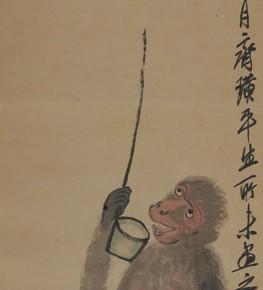 齐白石《偷酒图》立轴 设色纸本 132.5×34 263x290 - ART • SANYA Art Festival Special Exhibition Paying a Tribute to Traditional Chinese Painting Art Opened in Sanya