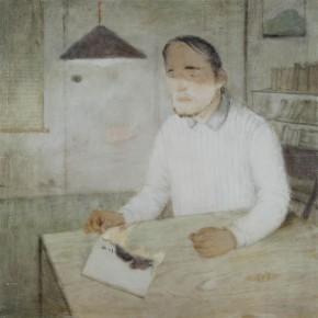 "01 Xia Yu, ""Poet"", tempera on wood board, 70 x 70 cm, 2010"