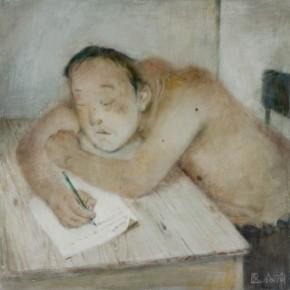 "02 Xia Yu, ""Writing a Letter"", tempera on wood board, 70 x 70 cm, 2011"