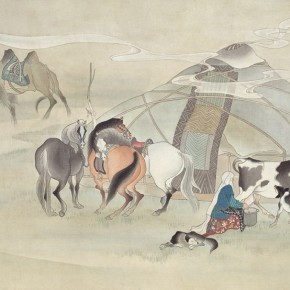 "04 Hu Wei ""Morning"" Chinese painting 54 x 96 cm 1981 CAFA ART MUSEUM COLLECTION 290x290 - A Song of Painting – Exhibition of the Horse Painting Collection in CAFA Art Museum"