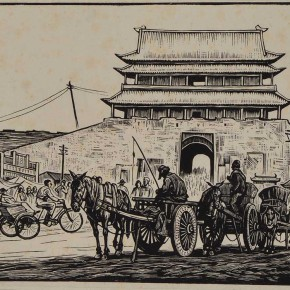 "06 Li Hua, ""Chaoyangmen"", woodblock monochrome, 20.8X14.5cm, 1947. CAFA ART MUSEUM COLLECTION"