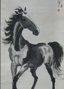 "07 Xu Beihong ""Horse"" scroll ink on paper 111.5 x 54.5 cm 1947 CAFA ART MUSEUM COLLECTION 211x290 - A Song of Painting – Exhibition of the Horse Painting Collection in CAFA Art Museum"