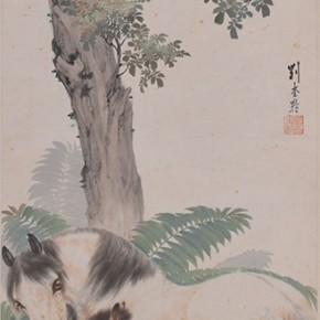 "08 Liu Kuiling, ""Double Horses"", vertical scroll, colored ink on paper, 102.5 x 34 cm, CAFA ART MUSEUM COLLECTION"