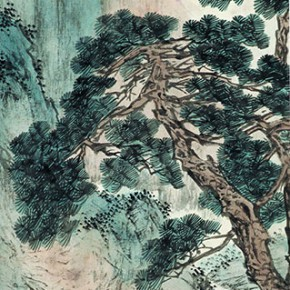 "09 Pu Xinyu ""Landscape"" scroll colored ink on paper 98 x 32 cm CAFA ART MUSEUM COLLECTION 290x290 - A Song of Painting – Exhibition of the Horse Painting Collection in CAFA Art Museum"