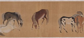 "10 Imitation of Zhao Mengfu's ""People and Horses"", scroll, colored ink on silk, 32 x 200 cm, Yuan Dynasty, CAFA ART MUSEUM COLLECTION"