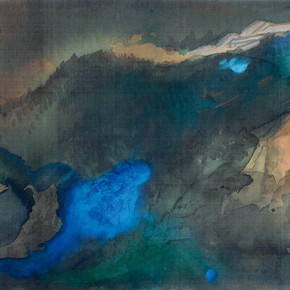 13 Zhang Daqian Evening View of Stream Bridge 1970 ink and color on silk 66x165cm 290x290 - Vast Territory of the Motherland: Zhang Daqian Art Exhibition Opening January 20 at the National Art Museum of China